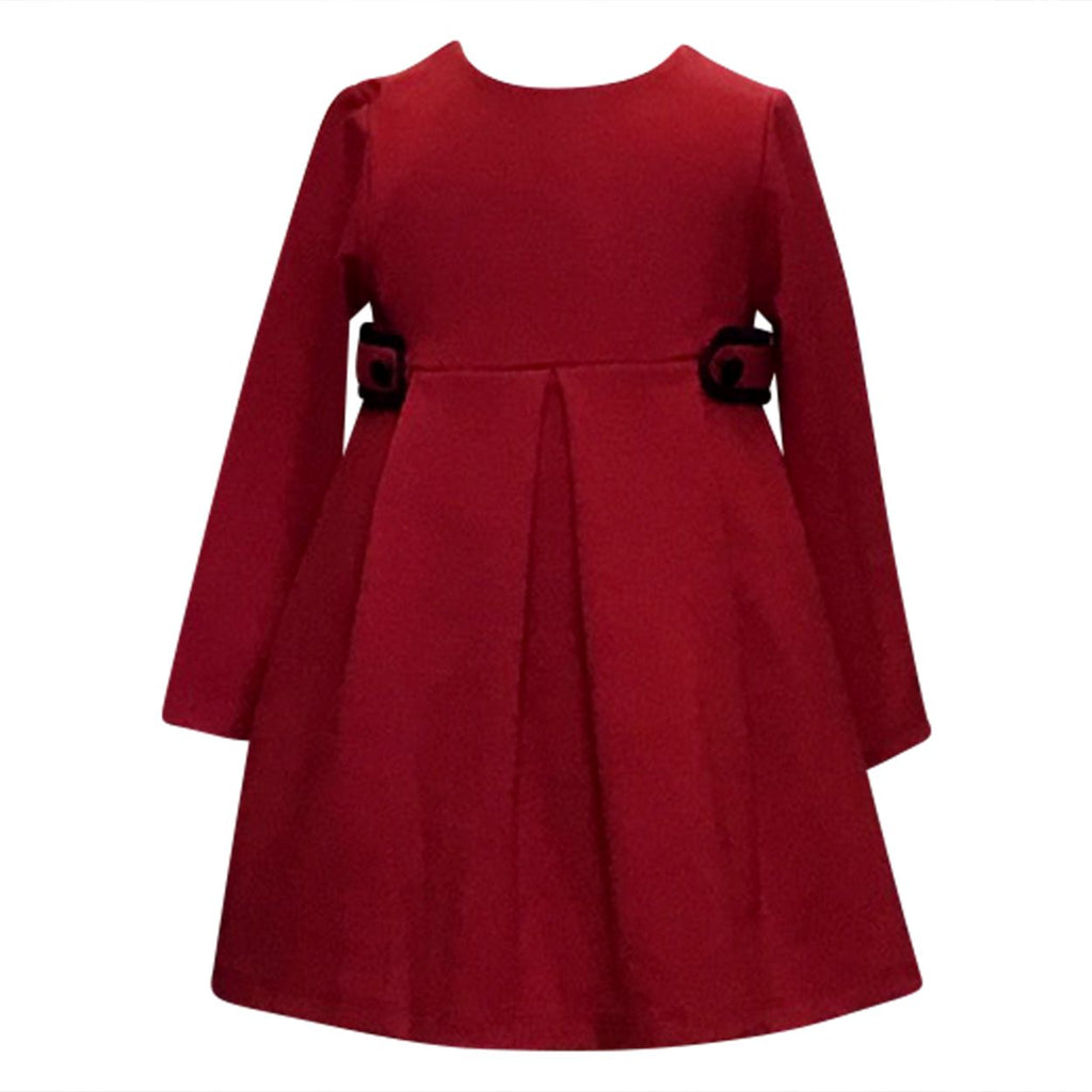 Red knit Dress with Navy Trim