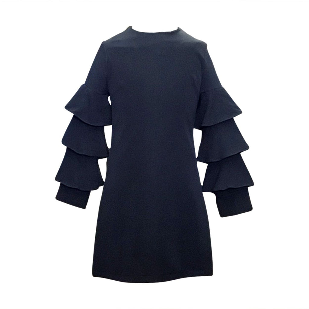 Adrian East online Sophisticated Navy Dress with Tiered Sleeves