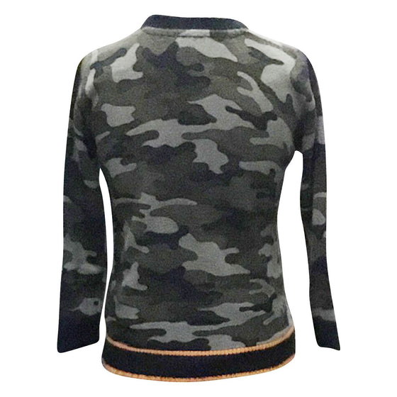 Camouflage Sweater w/ Orange Accent