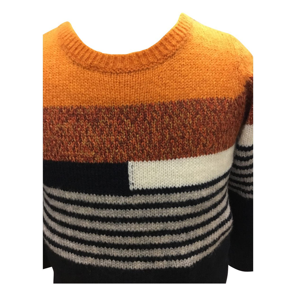 Multicolored Stripe Sweater w/ Light Brown Pants