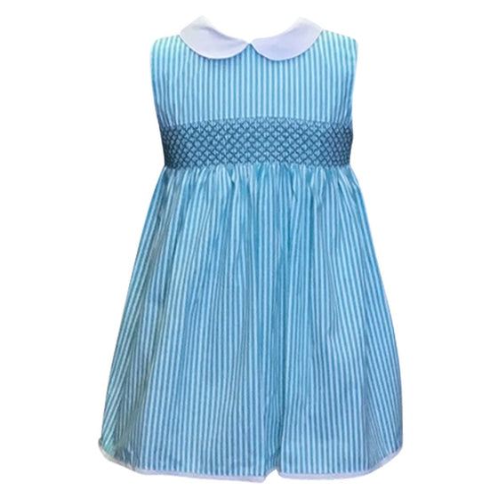 Teal Smocked Seersucker Dress