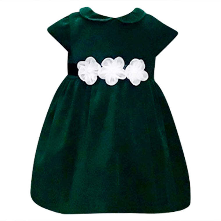 Green Velvet Dress with Organza Flowers