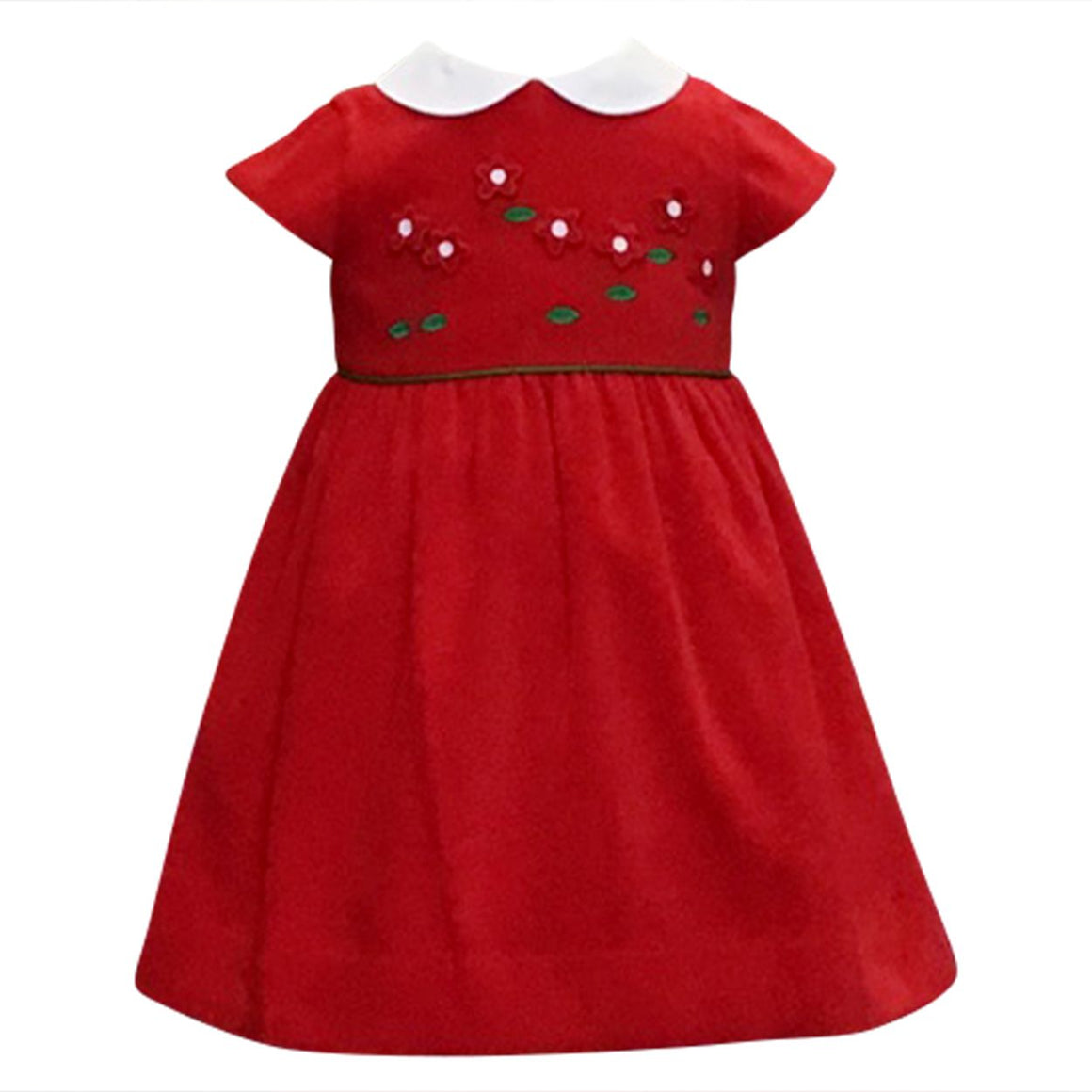 Red Velvet Dress With Flowers