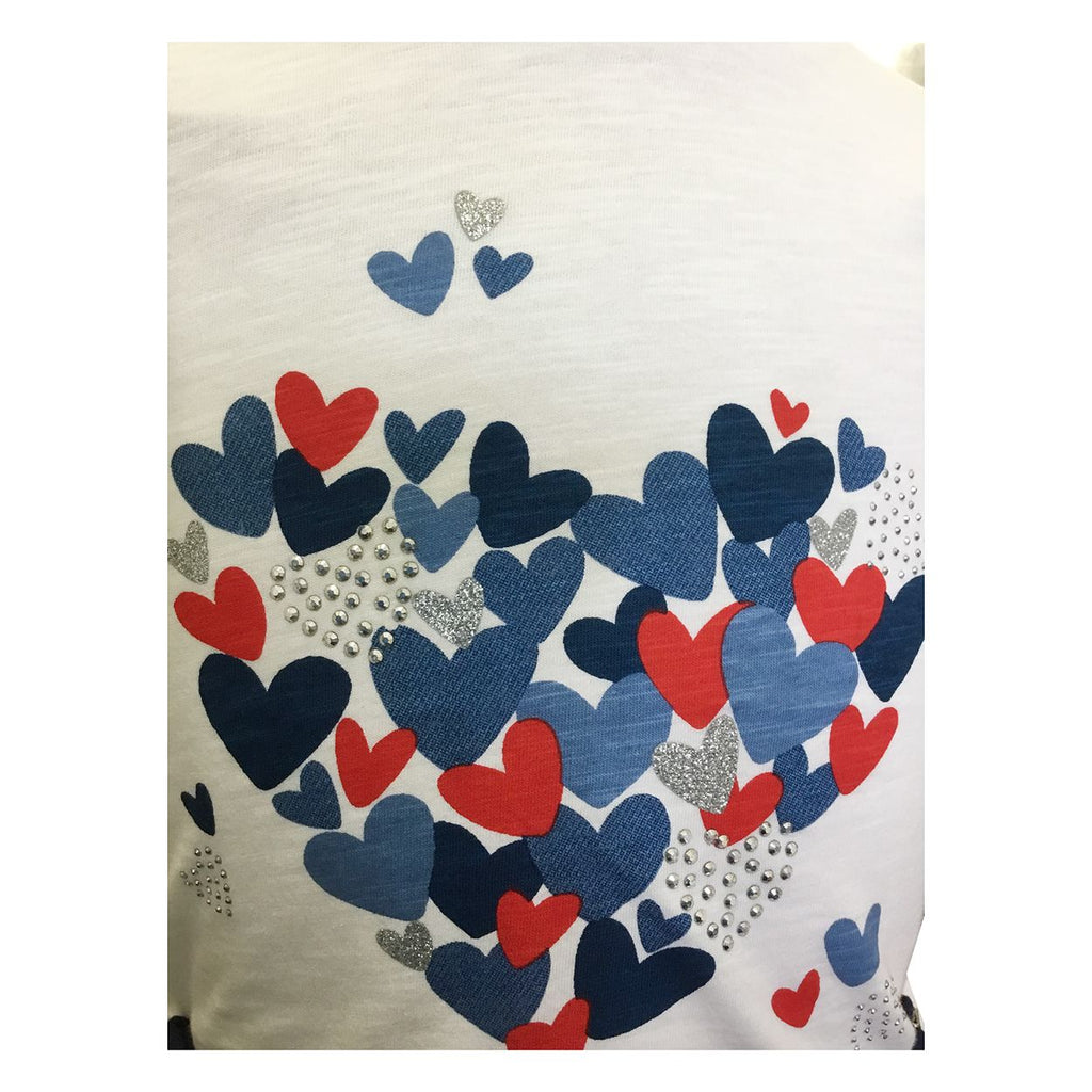 Rd & Bl Heart Shirt w/ Navy Shorts