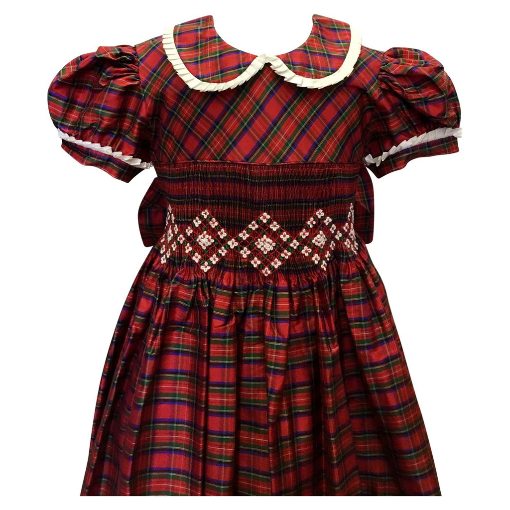 Silk Smocked Holiday Plaid Dress