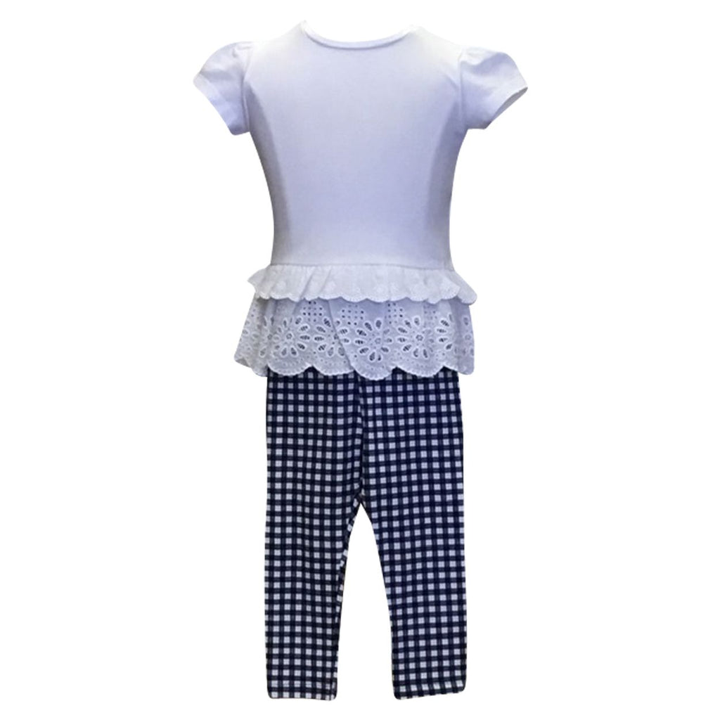 Eyelet Tiered Top with Gingham Leggings