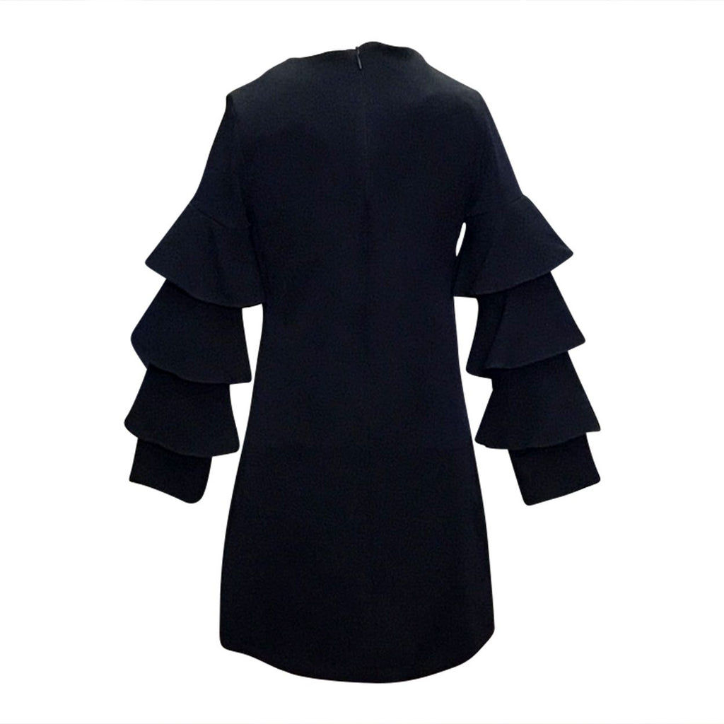 Sophisticated Navy Dress with Tiered Sleeves