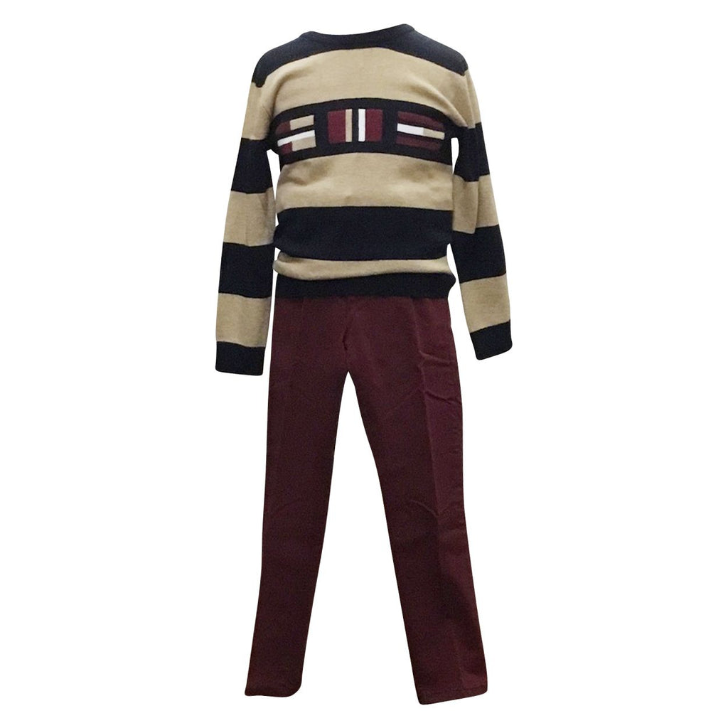 Beige & Navy Stripe Sweater w/ Wine Pants