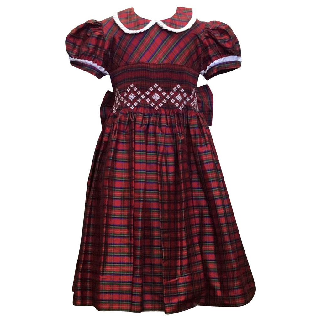 Adrian East online Silk Smocked Holiday Plaid Dress