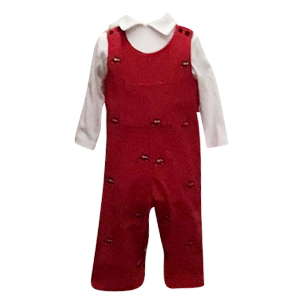 Embroidered Red Corduroy Overall