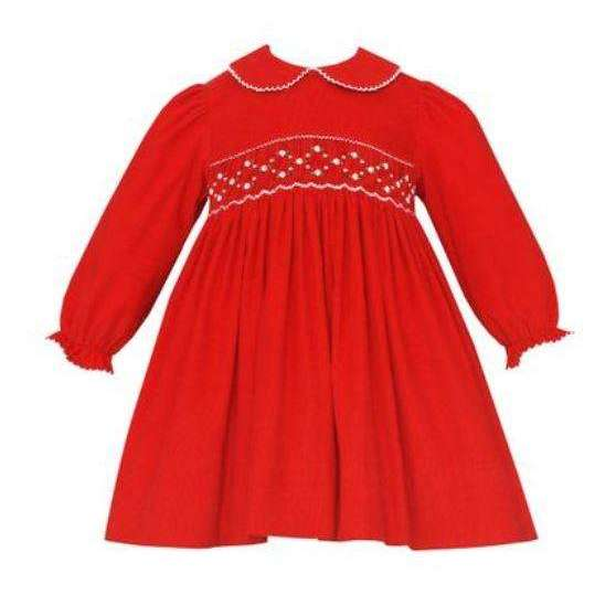 Adrian East online  Smocked Long Sleeve Red Corduroy Dress