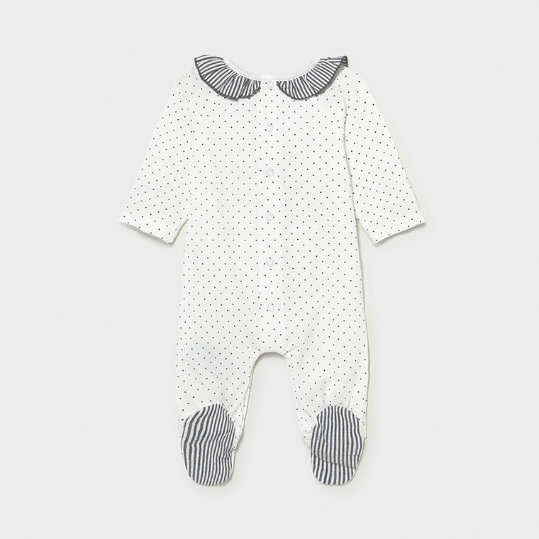 Grey & Wh Dot Bunny Footie