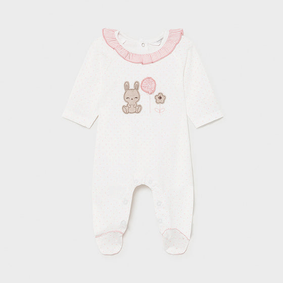 Pk & Wh Dot Bunny Footie