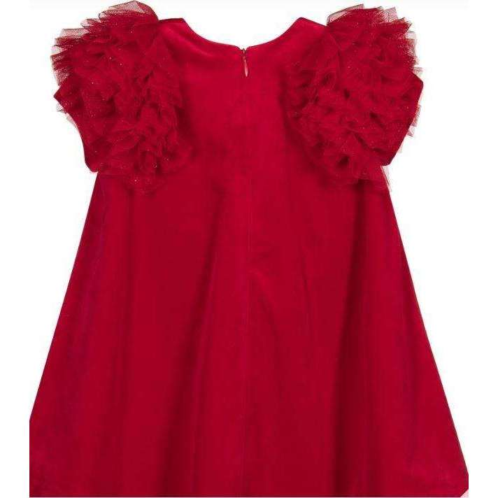 Adrian East online Velvet Red Dress with Sparkle Flutter Sleeves
