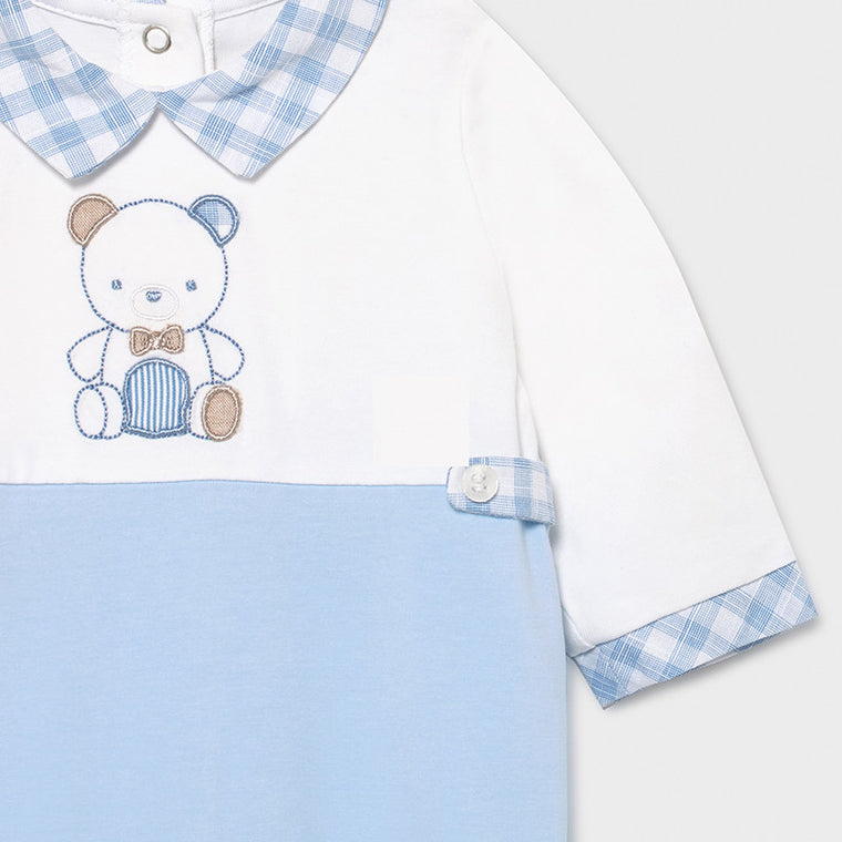 Blue & Wh Teddy bear and Plaid footie