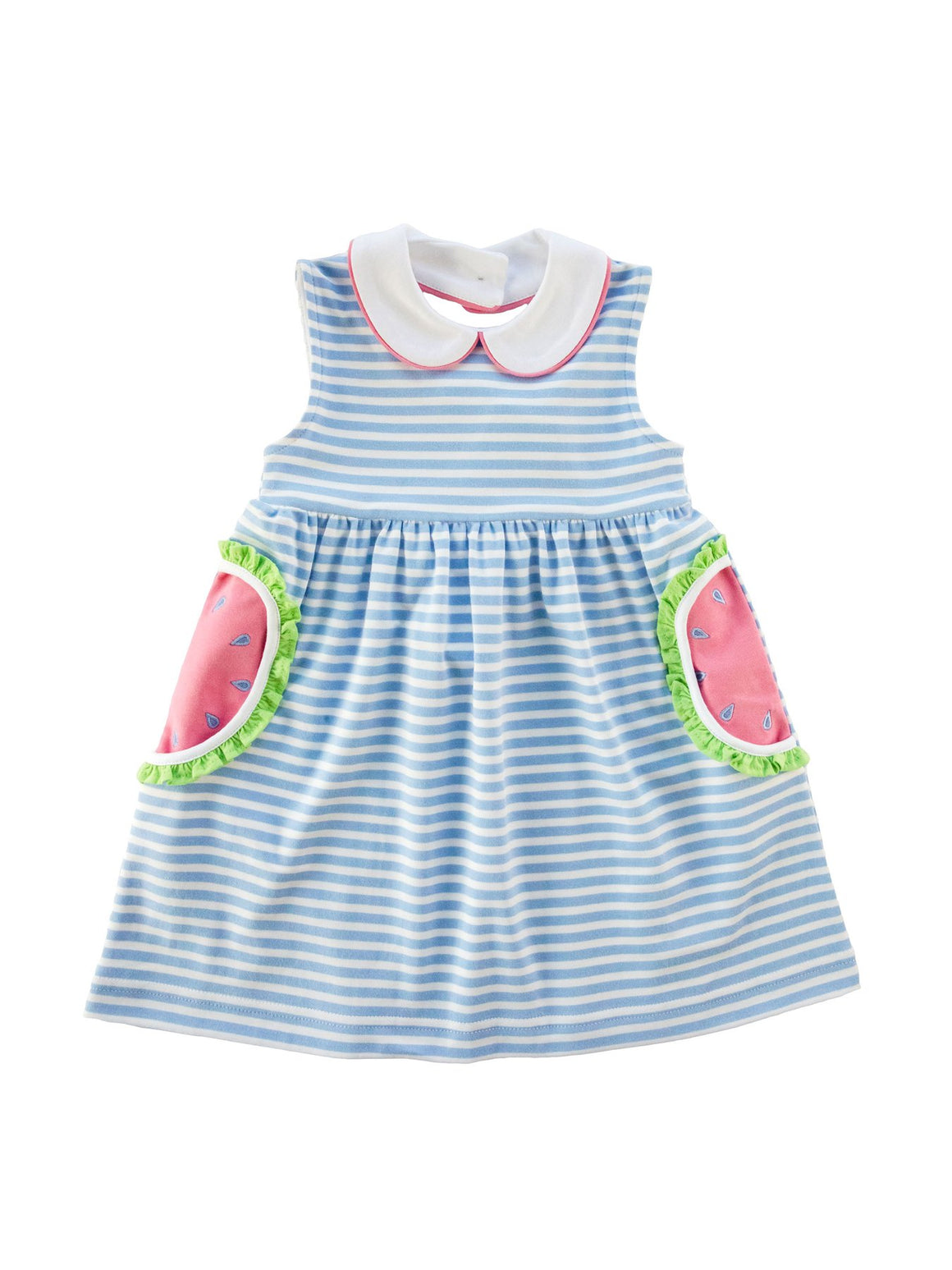Bl & Wh Striped Dress w/ Watermelon Pockets
