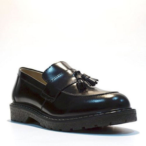 Grinders New Cuthbert Black Leather American Tassle Loafer Air Cushioned Soles - BOOTSANDLEATHER