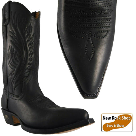 Loblan 194 Black Waxy Leather Cowboy Boots Hand Made Classic Unisex Western 0194 - BOOTSANDLEATHER