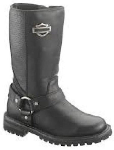 "Harley Davidson New Ladies Lily 11.5"" Harness Boot Black Leather Zip Biker Boots - BOOTSANDLEATHER"
