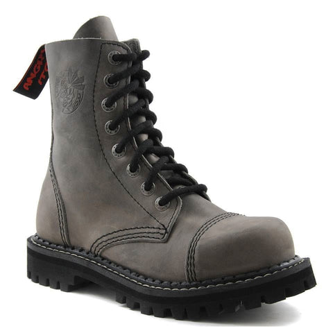 Angry Itch 8 Hole Punk Vintage Grey Leather Army Ranger Boot Steel Toe - BOOTSANDLEATHER
