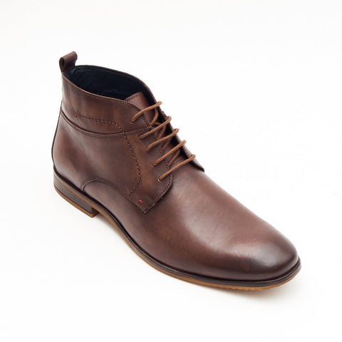 Lucini Formal Men Brown Leather Formal Heels Lace-Up Boots Wedding Office - BOOTSANDLEATHER