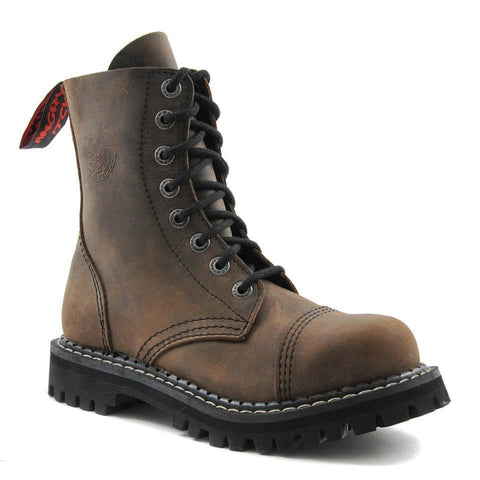 Angry Itch 8 Hole Punk Vintage Brown Leather Army Ranger Boot  Steel Toe - BOOTSANDLEATHER