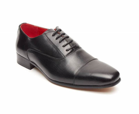 Rossellini Mario Mens Shoes Black Faux Leather Lace Up Pointed Casual Shoe - BOOTSANDLEATHER