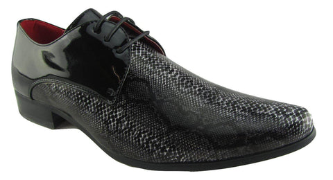 Rossellini Retalino Mens Shoes Black Faux Snake Black Patent Lace Up Pointed - BOOTSANDLEATHER