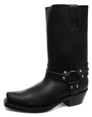 Grinders Harness Hi Black Western Leather Biker Boots High Cowboy Boots - BOOTSANDLEATHER