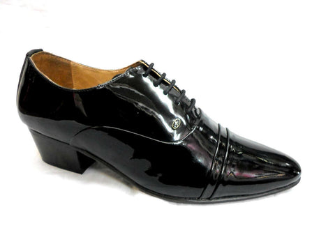 Lucini Formal Mens Cuban Heels Real Leather Lace Up Wedding Shoes Black Patent - BOOTSANDLEATHER