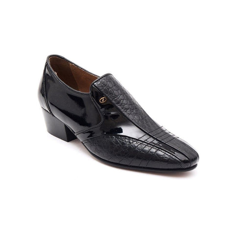 Lucini Mens Formal Cuban Heels Croc Leather Slip On Wedding Shoes Black Patent - BOOTSANDLEATHER