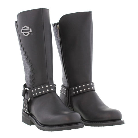 Harley Davidson Ladies Aimee Black Leather Boot  Biker Zip Boots Studs - BOOTSANDLEATHER