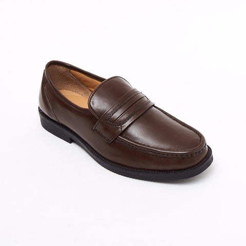 Lucini Formal Men Brown Leather Mocassin Heels Shoes Slip On Wedding Loafer - BOOTSANDLEATHER