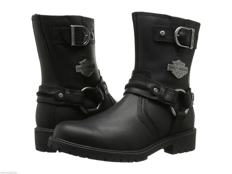 Harley Davidson Abner Black Leather Men'S Biker Boots Motorbike Riding Boot - BOOTSANDLEATHER