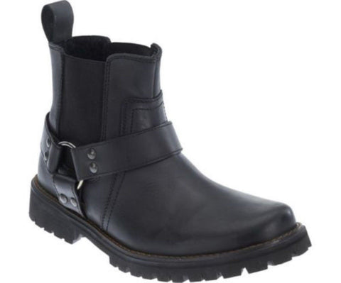 Harley Davidson Duran Men'S Biker Boots Black Leather Ankle Boot Slip On - BOOTSANDLEATHER