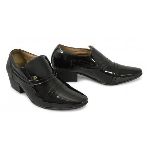 Lucini Formal Mens Cuban Heels Real Leather Slip On Wedding Shoes Black Patent - BOOTSANDLEATHER