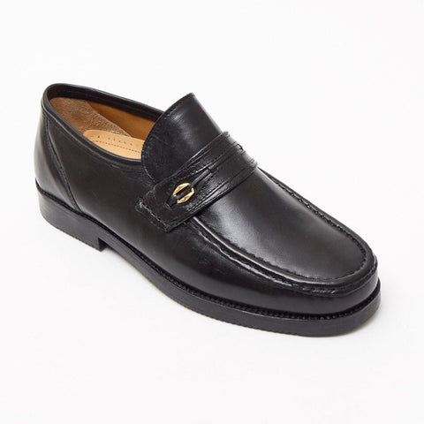 Lucini Formal Men Black Sheep Leather Moccasin Heels Shoes Slip On Wedding - BOOTSANDLEATHER