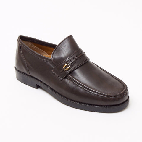 Lucini Formal Men Brown Sheep Leather Moccasin Heels Shoes Slip On Wedding - BOOTSANDLEATHER