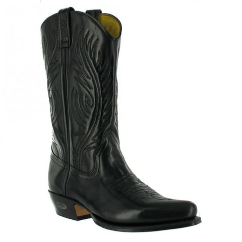Loblan 194 Western Boots Black Shiny Leather Cowboy Boots Classic Biker - BOOTSANDLEATHER