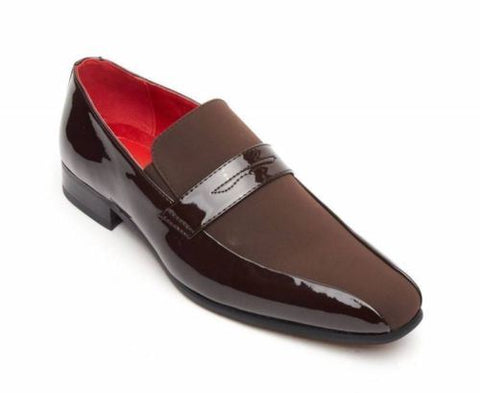 Rossellini Monzese Mens Shoes Brown Faux Shiny Leather Wedding Moccasin Loafer - BOOTSANDLEATHER