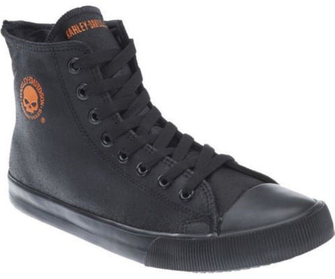 Harley Davidson Baxter Biker Men Shoes High Top Sneaker Black Orange Leather - BOOTSANDLEATHER