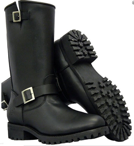 Grinders New Wild One Men'S Black Leather Biker Boots Bike - BOOTSANDLEATHER