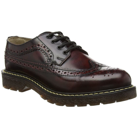 Grinders New Bertrum Burgundy Leather American Brogue Air Cushioned Soles - BOOTSANDLEATHER