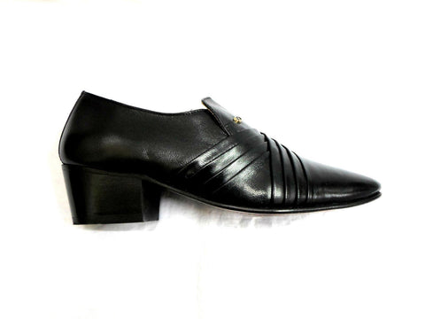 Lucini Formal Mens Cuban Heels Cross Leather Slip On Wedding Shoes Black - BOOTSANDLEATHER