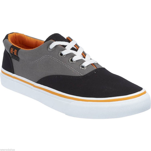 Harley Davidson Genuine Lawthorn Black Grey Mens Biker Trainers Relax Lace Shoes - BOOTSANDLEATHER