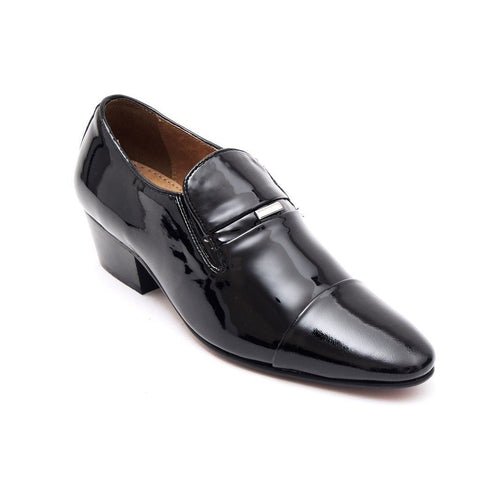Lucini Mens Formal Cuban Heels Real Leather Slip On Wedding Shoes Black Patent - BOOTSANDLEATHER