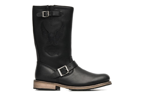 Harley Davidson Clint Mens Black Eagle Leather Condctor Biker Zip Boots Original - BOOTSANDLEATHER