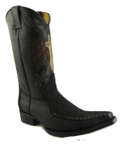 Grinders Kansas Cowboy Western Brwon Leather Boots Knee High Boot West Biker - BOOTSANDLEATHER
