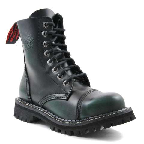 Angry Itch 8 Hole Punk Green Rub Off Leather Combat Boots Ranger Steel Toe Side - BOOTSANDLEATHER