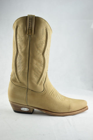 Loblan 2616 Tan Waxy Leather Cowboy Boots Hand Made Classic Biker Western 206 - BOOTSANDLEATHER